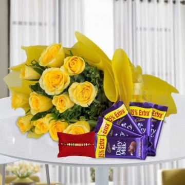 Yellow Glory with Rakhi - Rakhi Gifts To Mirzapur