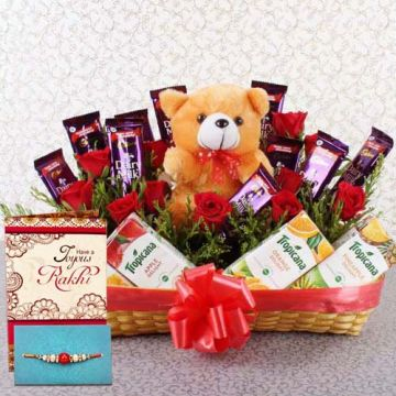 Perfect Rakhi  Gifting Arrangement - Rakhi Gifts To Faridabad