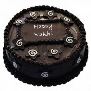 Rakhi Dark Chocolate Cake - Rakhi Gifts To Tirupati