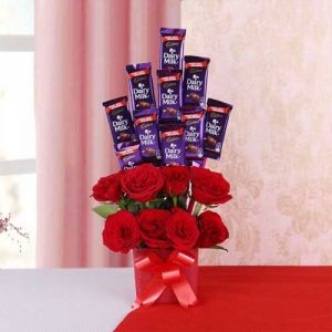 Bouquet of Love and Chocolates - Same Day Gifts for Diwali