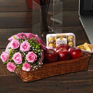 Pink Rose Bouquet with Apple and Ferrero Rocher - Gifts for Mother