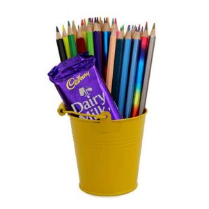 Pencils Pack In Bucket