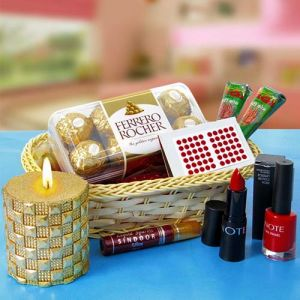 COSMETICS & CHOCOLATES HAMPER - Karwa Chauth Gifts for Wife