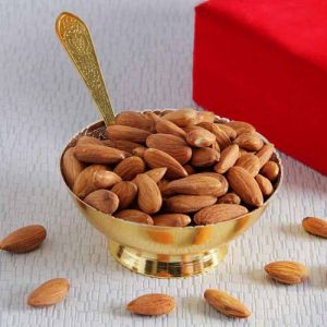 Golden Bowl And Tray Set Of Almonds - Gifts for Dhanteras
