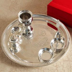 Silver Plated Puja Thali - Gifts for Dhanteras