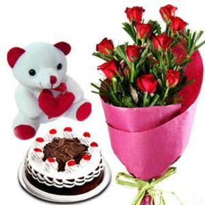 The Pure Romance - Flowers Cake and Teddy Combo