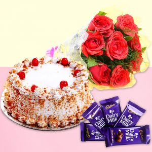 Red Rose with Cake - Send Birthday Flowers Online