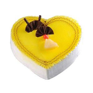 1 kg Pineapple Heart Cake - Send Heart Shaped Cakes Online