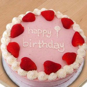 Round Strawberry Birthday Cake
