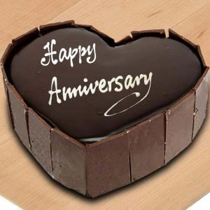 Chocolate Heart Shape Anniversary Cake - Send Heart Shaped Cakes Online