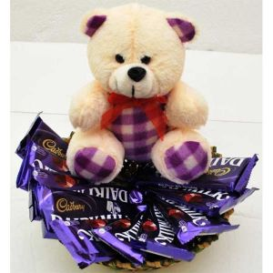 BEAUTIFUL TEDDY WITH DAIRY MILK - Gifts for 5Th Birthday
