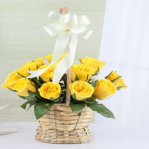 Adorable Yellow Roses in a Basket - Gifts for Mother in Law