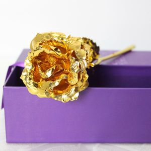Golden Rose in Purple Box - Send Birthday Gifts Online India