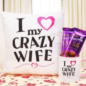 I Love My Crazy Wife - Personalized Cushions Online