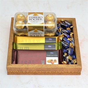 Chocolate Thali - 3 pcs Temptation and Ferrero Rocher in a Thali - Gifts for Son