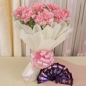 Carnations And Chocolates - Birthday Gifts for Son