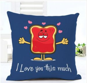 Printed Cushion Cover With Filler Blue Love You This Much - Personalized Cushions Online
