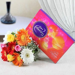 Mix Color of Roses and Gerberas with Celebration Pack