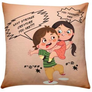 Brother Sister Fighting Cushion - Rakhi Personalized Gifts