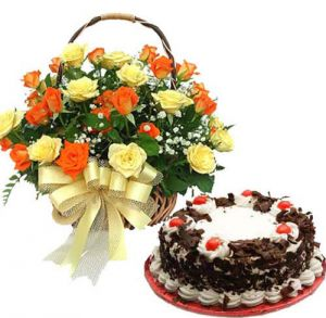 Roses Basket With Cake