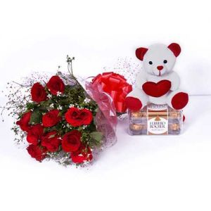 Roses With Chocolate & Teddy - Roses for Birthday