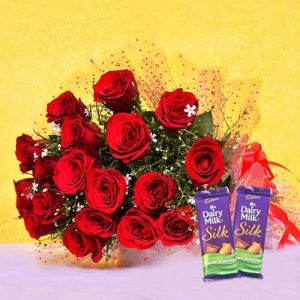 Red Blooms With Chocolaty Treats - Kiss Day Gifts Online - Best Gift Ideas for Kiss Day