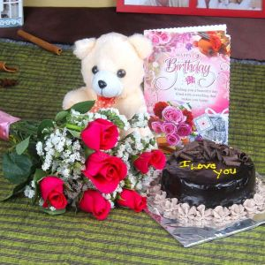 Roses and Chocolate Cake Hamper Including Teddy Bear with Birthday Greeting Card