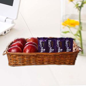 Apples in Basket along with Dairy Milk Chocolates - Combo Gifts Online
