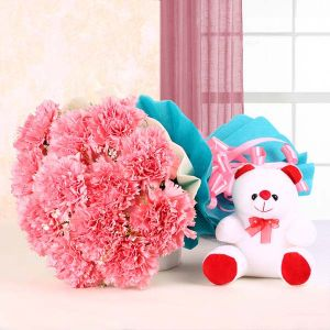 Teddy Blossoms - Send Birthday Flowers Online