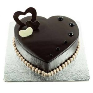 Chocolate Hearts Cake - Send Heart Shaped Cakes Online