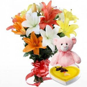Enchanted Bloom Lilies - Mixed Flowers Online