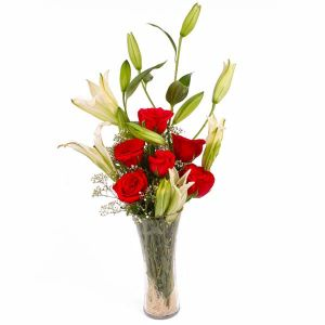 Exotic Vase Arrangement of Lilies and Red Roses - Mixed Flowers Online