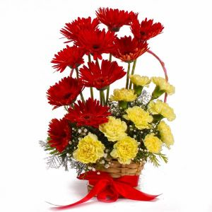 Basket of Red Gerberas with Yellow Carnations - Mixed Flowers Online