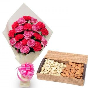 Pink Flowers and Dryfruit