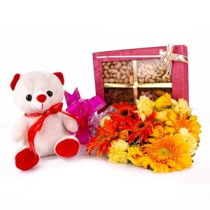 Combo of Dryfruits and Teddy Bear and Fresh Flowers Bouquet - Send Gerberas Online