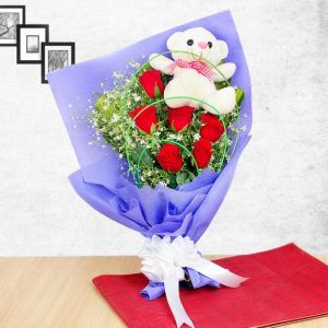 Teddy in Bunch - Send Flowers with Teddy Bears Online