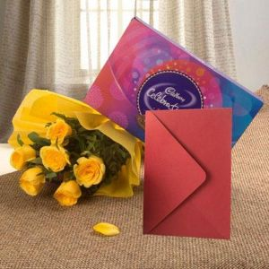 FLOWER HAMPER AND GREETING CARD