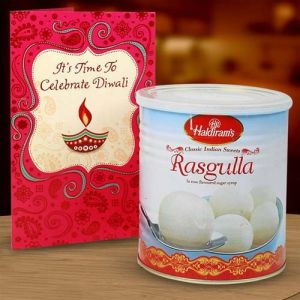 RASGULLA & DIWALI CARD HAMPER - Diwali Gifts to Udaipur