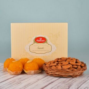 Almonds Basket N Motichoor Laddoo - Diwali Gifts for Boss