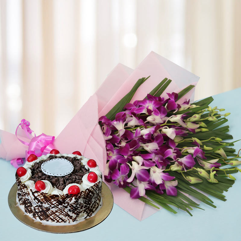 Exotic Orchids n Cake - Anniversary Gifts Online