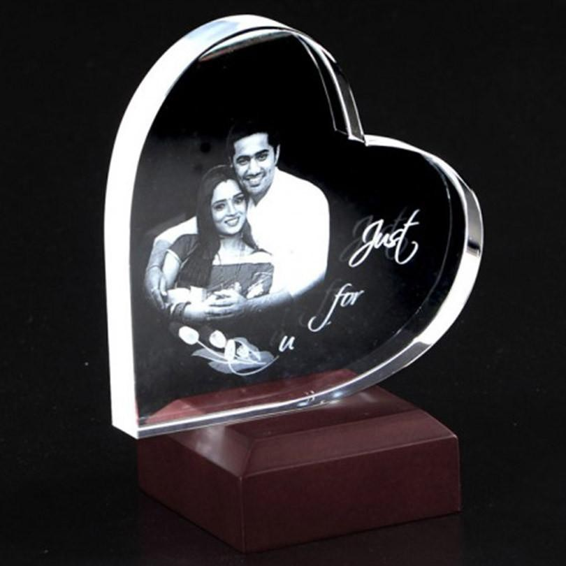 HEART SHAPED 2D CRYSTAL - Anniversary Personalized Gifts Online