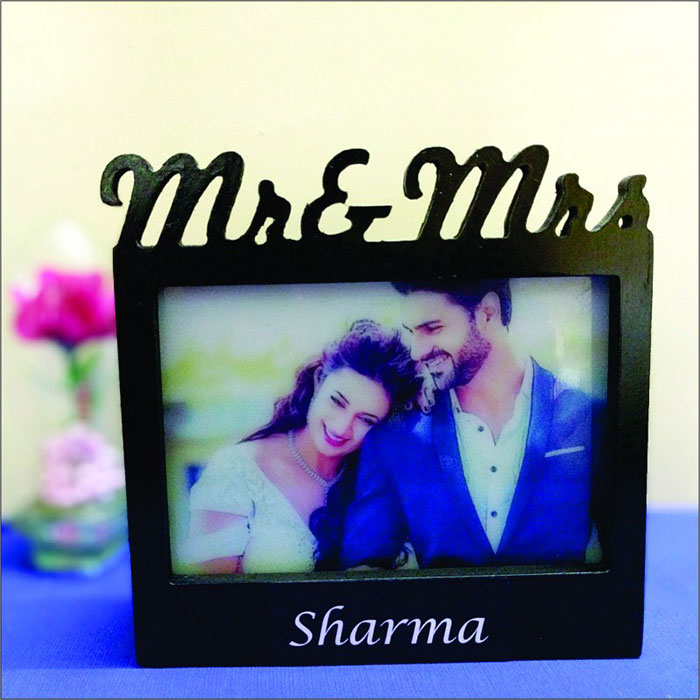 Mr & Mrs Photo Frame Lamp - Anniversary Personalized Gifts Online