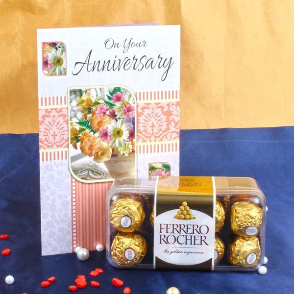 Anniversary Card with Ferrero Rocher Box  - Anniversary Chocolates Online