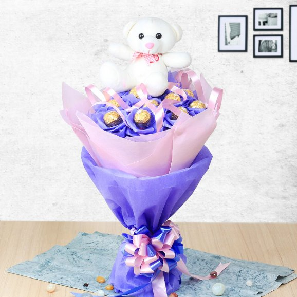 Send Flowers To India - Choco Teddy Bunch